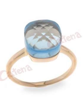 Δαχτυλίδι ασημένιο σε ρόζ επιχρύσωμα,σε χρώμα νερού η πέτρα