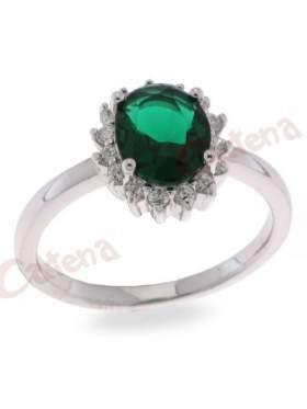 Δαχτυλίδι ασημένιο επιπλατινωμένο με άσπρες και πράσινη πέτρα ζιργκόν