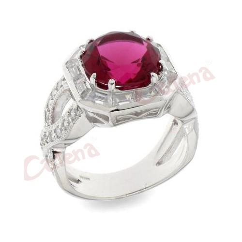 Δαχτυλίδι με στρογγυλή πέτρα ζιργκόν 24074da82e1