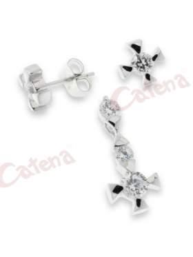 Σετ σκουλαρίκια και μενταγιόν με στρογγυλές πέτρες ζιργκόν σε χρώμα λευκό με φινίρισμα λουστρέ